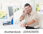 smiling casual businessman... | Shutterstock . vector #235425055