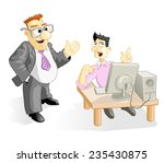 vector illustration  funny boss ... | Shutterstock .eps vector #235430875