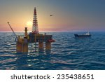 oil platform and tanker in the... | Shutterstock . vector #235438651