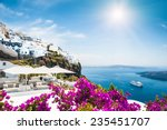 white architecture on santorini ... | Shutterstock . vector #235451707