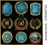anniversary gold and blue... | Shutterstock .eps vector #235460731