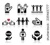 volunteer  people helping or... | Shutterstock .eps vector #235465777