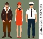 pilot and stewardess  airplane...   Shutterstock .eps vector #235479139