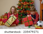 two children  a boy and a girl  ... | Shutterstock . vector #235479271