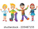 kids  boys and girls  cartoon... | Shutterstock .eps vector #235487155