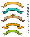 hand drawn ribbon banners... | Shutterstock .eps vector #235498714