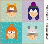 christmas kids in animal... | Shutterstock .eps vector #235510567