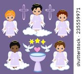 set angel boy on the sky with... | Shutterstock .eps vector #235559971