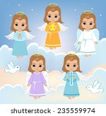 set angel boy on the sky with... | Shutterstock .eps vector #235559974