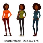 cute african american girls in... | Shutterstock .eps vector #235569175