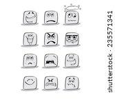 emotional faces. vector. | Shutterstock .eps vector #235571341