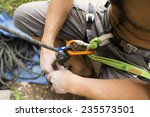 security climb  carabiners. | Shutterstock . vector #235573501