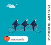businessmen on tandem bike with ... | Shutterstock .eps vector #235573735
