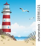 lighthouse and beach on summer... | Shutterstock .eps vector #235581121