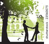 couple under the tree in city... | Shutterstock .eps vector #23560075