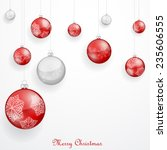 red christmas ornaments  | Shutterstock . vector #235606555