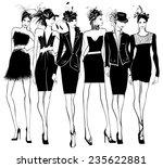 women fashion models in black...