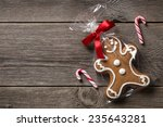 packed gingerbread cookie on... | Shutterstock . vector #235643281