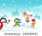 snowball fight | Shutterstock .eps vector #235650931