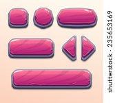 set of cartoon pink stone...