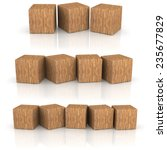 Three Groups Of Wood Cubes On...