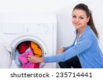 young housewife is doing... | Shutterstock . vector #235714441