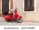 red scooter parked by the wall... | Shutterstock . vector #235729687