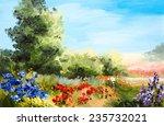 Oil Painting   Field Of Flower...