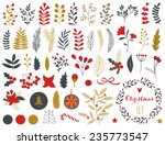 Stock vector collection of vintage merry christmas and happy new year flowers greeting stylish illustration of 235773547