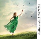 Beautiful Woman In A Green...