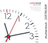 Vector Office Clock On White...