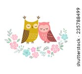 Two Cute Owls In Love And...