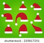 santa claus hats on green... | Shutterstock .eps vector #235817251