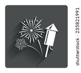 fireworks with rocket sign icon....