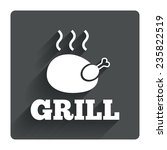 roast chicken grill sign icon....