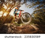 downhill. man riding a mountain ... | Shutterstock . vector #235830589