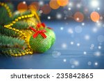 christmas decorations on an... | Shutterstock . vector #235842865