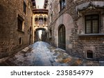 barri gothic quarter and bridge ... | Shutterstock . vector #235854979