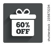 60  sale gift box tag sign icon....