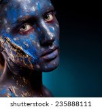 blue face art woman with gold... | Shutterstock . vector #235888111