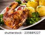 barbecued chicken leg with... | Shutterstock . vector #235889227