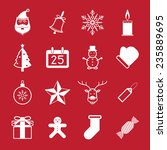 christmas icon set on red... | Shutterstock .eps vector #235889695