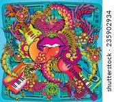 vibrant psychedelic music lips...   Shutterstock .eps vector #235902934