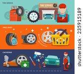 tire service flat banner set...   Shutterstock .eps vector #235915189