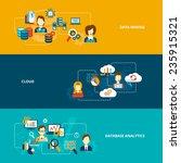 database analytics banner flat... | Shutterstock .eps vector #235915321