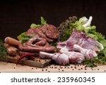 raw meat mix  steaks  poultry ... | Shutterstock . vector #235960345