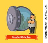 bank vault room safe door with... | Shutterstock .eps vector #235963921