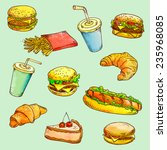 fast food   linear drawing | Shutterstock . vector #235968085