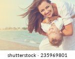 happy family. young beautiful ... | Shutterstock . vector #235969801