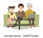 cartooned females sitting on... | Shutterstock .eps vector #235971664
